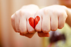 Heart. Red heart on the hand Royalty Free Stock Images