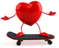 Heart. 3d generated heart on a skateboard Royalty Free Stock Image