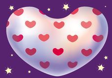 Heart. Illustration of white heart with pattern of red hearts on a starry night background Stock Image