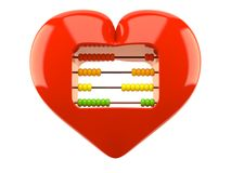 Heart with abacus. Isolated on white background Royalty Free Stock Photos