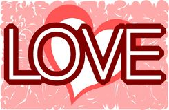 Heart on abstract background and word love Royalty Free Stock Image