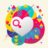 Heart on abstract colorful spotted background with different ele Stock Image