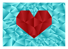 Heart. Abstract illustration depicting red diamond heart on a background of the blue diamond Stock Photography