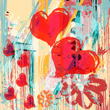 Heart abstract psychedelic background graffiti grunge texture Royalty Free Stock Photography