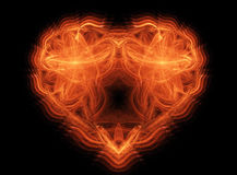 Heart of abstract shapes of fire stock photo