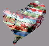 Heart, abstract texture in blue red orange green colors Stock Images