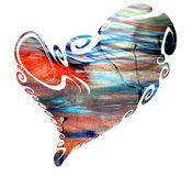 Heart, abstract texture in pastel blue red orange green colors Stock Photo