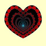 The heart is an abyss of love. In love, to fall into the abyss. Heart made of small hearts. Vector. Valentine s day.  Royalty Free Stock Images