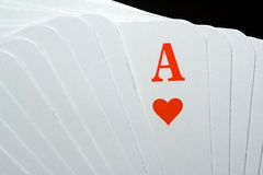 Heart-ace. Many playing cards with a heart-ace Stock Photography