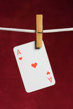Heart ace with clothes peg Royalty Free Stock Images