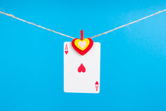 Heart ace with clothes peg rope Stock Photography