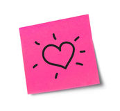 Heart adhesive note Royalty Free Stock Image