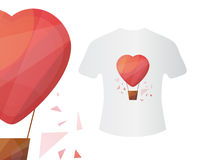 Heart air ballon T-shirt concept. Vector illustration for print, textile, web, party invitations and clothes. Low polygon style vector Royalty Free Stock Images