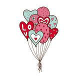 Heart air balloons batch. Stock Photography