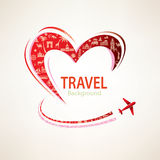 Heart and airplane  with set of travel icons Stock Image
