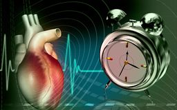 Heart with alarm clock. Digital illustration of a heart in colour background with alarm clock Royalty Free Stock Photo