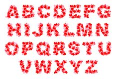 Heart alphabet. Isolated letters of alphabet containing small red hearts Royalty Free Stock Photography