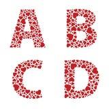 Heart Alphabet Font. ABCD heart alphabet letters font stock illustration