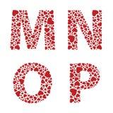 Heart Alphabet Font vector illustration