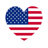 Heart of America flag. The  heart with american flag colors and symbol Stock Image