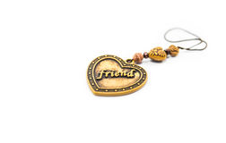 Heart amulet express friend word isolated Stock Photo