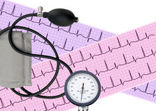 Heart analysis, electrocardiogram graph and blood pressure meter Royalty Free Stock Photo