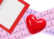 Heart analysis, electrocardiogram graph (ECG), clipboard Stock Photography