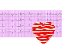 Heart analysis, electrocardiogram graph (ECG) and paper heart Stock Photo