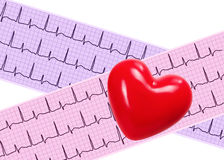 Heart analysis, electrocardiogram graph (ECG) and red heart Royalty Free Stock Photos