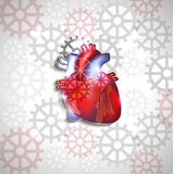 Heart anatomy abstract design. Heart anatomy on a abstract gears background Royalty Free Stock Photo