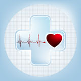 Heart And Heartbeat Symbol. EPS 8 Royalty Free Stock Photography