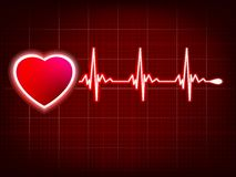 Heart And Heartbeat Symbol On Monitor. EPS 8 Royalty Free Stock Image