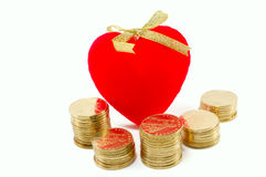 Heart And Metal Coins Stock Photo