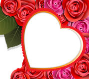Heart And Roses Valentines Background Stock Images