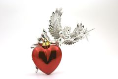 Heart Angel. Red Heart and Silver Angel Stock Image