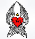 Heart with angel wings and crown. Stock Image