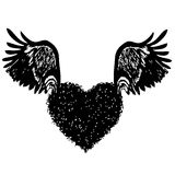 Of heart with angel wings. Doodle hand drawn of of heart with angel wings Stock Illustration