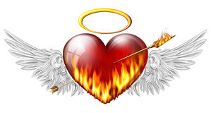 Heart with angel wings. Fiery heart with angel wings pierced by an arrow of fire Royalty Free Stock Image