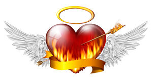 Heart with angel wings. Fiery heart with angel wings and sash pierced by an arrow of fire Stock Image