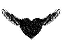 Heart with angel wings. Freehand sketch, doodle hand drawn of heart with angel wings Vector Illustration