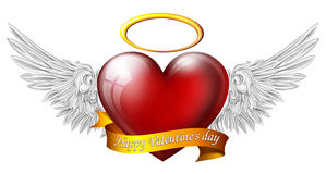 Heart with angel wings. With sash and message for Valentine's Day Royalty Free Stock Image