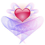 Heart with angelic wings. Red brilliant heart with pink aura and angelic wings Royalty Free Stock Photos