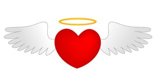 Heart with angle wings and gold halo Royalty Free Stock Images