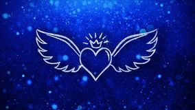 Heart with Angle Wings Shape Blinking Icon Particles Background. Heart with Angle Wings Shape Icon Symbol Abstract Blinking Sparkle Glitter Particle Looped royalty free illustration