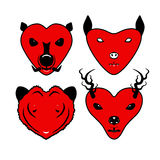 Heart animal face. Look like wild pig, bat, tiger, deer Royalty Free Stock Photo