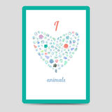 Heart from animal footprints card Royalty Free Stock Photography