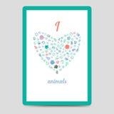 Heart from animal footprints card vector illustration