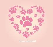 Heart animal's footprints Stock Photography