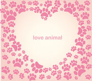 Heart animal's footprints Stock Photo