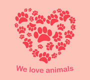 Heart animal's footprints Print we love animals Stock Photography